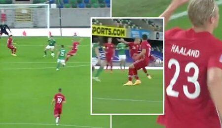 Erling Haaland marcou um golaço pela Noruega e o poder do seu remate é assustador