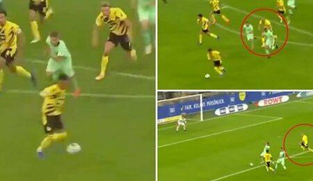 Erling Haaland corre o campo de uma ponta à outra para marcar um golo incrível no contra-ataque