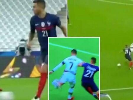 Lucas Hernandez meteu Cristiano Ronaldo no bolso durante o jogo entre França e Portugal