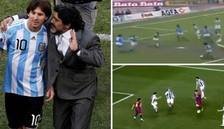 Compilação de Leo Messi e Diego Maradona a fazer os mesmos movimentos e golo é poesia futebolística