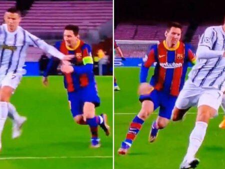 Cristiano Ronaldo parou um drible de Lionel Messi de forma incrível