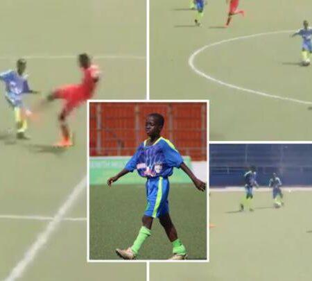 Criança de 11 anos está a jogar futebol sénior na Libéria e a partir tudo